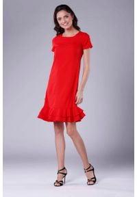 Nommo - Czerwona Uniwersalna Midi Sukienka z Małą Falbanką. Kolor: czerwony. Materiał: wiskoza, poliester. Wzór: kwiaty. Długość: midi