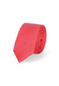 Lancerto - Krawat Czerwony. Okazja: do pracy, na co dzień. Kolor: czerwony. Materiał: tkanina, mikrofibra. Wzór: kwiaty. Styl: wizytowy, klasyczny, casual