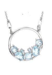 Braccatta - TARA Srebrny naszyjnik wisiorek blue topaz celebrytka 2,1 ct.. Materiał: srebrne. Kolor: srebrny. Wzór: ze splotem. Kamień szlachetny: topaz