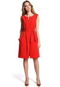 Czerwona sukienka na imprezę MOE wizytowa, bez rękawów