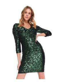 TOP SECRET - Efektowna cekinowa sukienka. Okazja: na imprezę. Kolor: zielony. Materiał: materiał. Sezon: zima. Typ sukienki: proste, koszulowe. Długość: mini