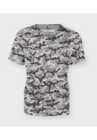 MegaKoszulki - Męska koszulka moro (bez nadruku, gładka) - szara. Kolor: szary. Materiał: bawełna. Wzór: gładki, moro