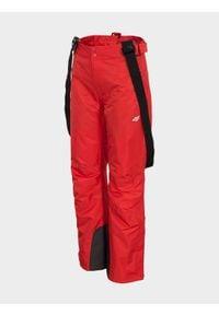 4f - Spodnie narciarskie damskie. Kolor: czerwony. Materiał: poliester. Sezon: zima. Sport: narciarstwo