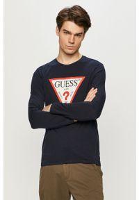 Niebieska koszulka z długim rękawem Guess z nadrukiem, na co dzień, casualowa