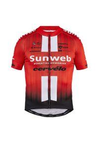 Koszulka męska rowerowa Craft Sunweb 1908208. Materiał: materiał, tkanina. Długość rękawa: krótki rękaw. Długość: krótkie. Sport: kolarstwo
