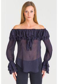 TwinSet - Granatowa bluzka Twinset z falbanami. Kolor: niebieski. Styl: elegancki, rockowy