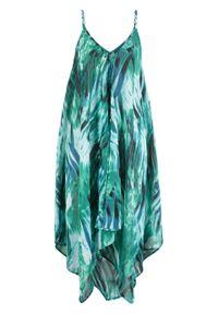 Zielona sukienka bonprix na ramiączkach, z dekoltem w serek, z nadrukiem, asymetryczna