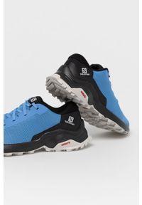 Niebieskie buty trekkingowe salomon z cholewką, na sznurówki, z okrągłym noskiem