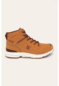 Brązowe sneakersy DC z cholewką, na sznurówki
