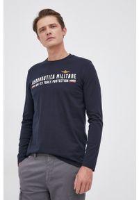 Aeronautica Militare - Longsleeve bawełniany. Okazja: na co dzień. Kolor: niebieski. Materiał: bawełna. Długość rękawa: długi rękaw. Wzór: nadruk. Styl: casual