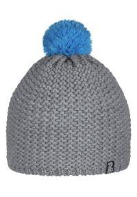 Szara czapka Spree na zimę, w kolorowe wzory