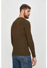 Guess Jeans - Longsleeve. Okazja: na co dzień. Kolor: zielony. Materiał: jeans. Długość rękawa: długi rękaw. Wzór: nadruk. Styl: casual