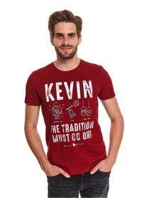 Czerwony t-shirt TOP SECRET wizytowy, z nadrukiem