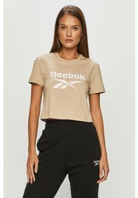 Bluzka Reebok Classic z okrągłym kołnierzem, z nadrukiem, casualowa, na co dzień