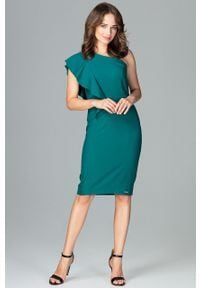 e-margeritka - Elegancka sukienka na jedno ramię z falbaną zielona - s. Okazja: na ślub cywilny, na wesele, na imprezę. Kolor: zielony. Materiał: poliester, materiał. Sezon: lato, jesień. Typ sukienki: proste, dopasowane. Styl: elegancki