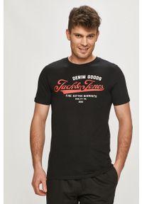 Czarny t-shirt Jack & Jones na co dzień, z nadrukiem, casualowy