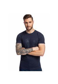 Niebieski t-shirt Giacomo Conti z nadrukiem