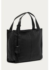 Czarna shopperka Answear Lab skórzana, gładkie, na ramię, wakacyjna