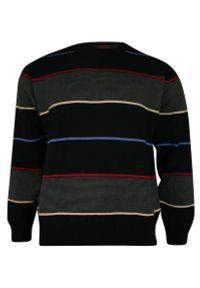 Niebieski sweter Kings z okrągłym kołnierzem, na zimę, w paski