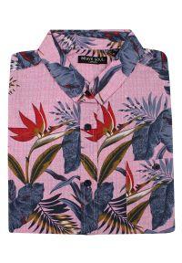 Różowa koszula casual Brave Soul na lato, na co dzień, w kwiaty, z krótkim rękawem