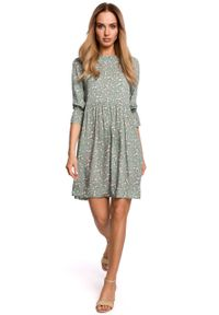 e-margeritka - Sukienka odcięta w pasie trapezowa - l. Materiał: wiskoza, materiał. Typ sukienki: trapezowe