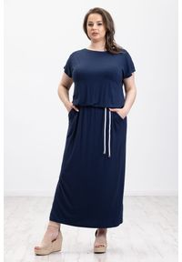 Niebieska sukienka Moda Size Plus Iwanek oversize, maxi