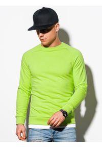 Ombre Clothing - Bluza męska bez kaptura B1217 - zielona - XXL. Typ kołnierza: bez kaptura. Kolor: zielony. Materiał: poliester, bawełna