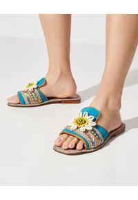 ELINA LINARDAKI - Klapki Waikii. Okazja: na plażę, na imprezę. Kolor: niebieski. Materiał: materiał. Sezon: lato