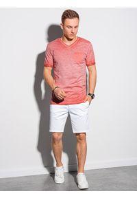 Ombre Clothing - T-shirt męski bawełniany S1388 - koralowy - XXL. Kolor: pomarańczowy. Materiał: bawełna
