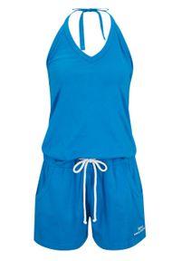 Niebieski kombinezon bonprix na ramiączkach, krótki, sportowy