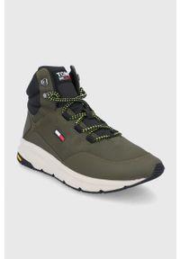 Tommy Jeans - Buty. Nosek buta: okrągły. Zapięcie: sznurówki. Kolor: zielony. Szerokość cholewki: normalna