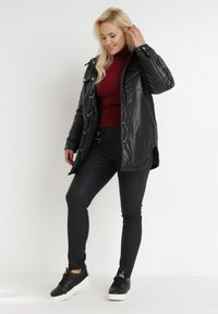 Born2be - Czarne Spodnie Slim Achyrtus. Stan: podwyższony. Kolor: czarny. Wzór: jednolity