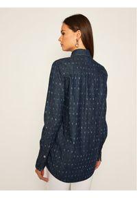 Victoria Victoria Beckham Koszula Print Denim 2320DSH001447B Granatowy Regular Fit. Kolor: niebieski. Materiał: denim. Wzór: nadruk