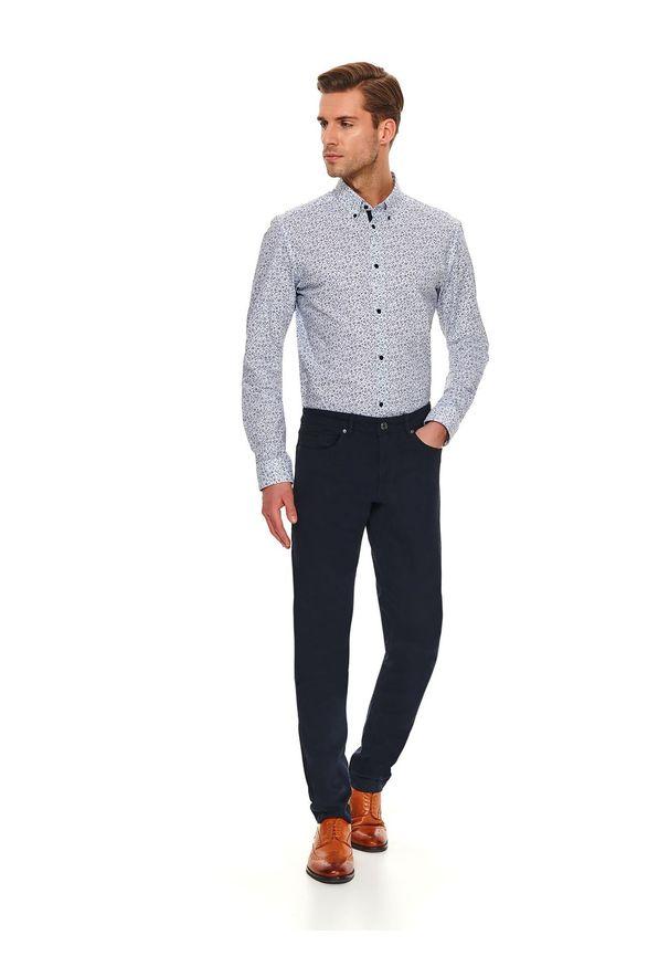 Niebieskie spodnie TOP SECRET w kolorowe wzory, na co dzień, długie, eleganckie