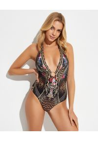 Camilla - CAMILLA - Jednoczęściowy strój kąpielowy Gothic Goddess. Kolor: brązowy. Materiał: nylon, elastan. Wzór: kwiaty, aplikacja