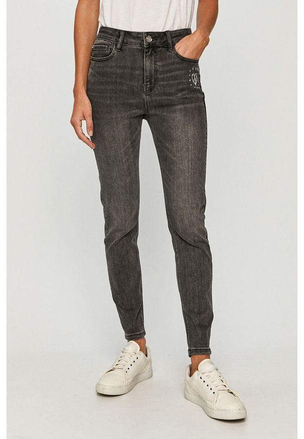 Szare jeansy Desigual z podwyższonym stanem