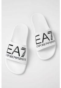 Białe klapki EA7 Emporio Armani bez obcasa
