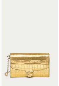 Złota listonoszka Lauren Ralph Lauren na ramię, gładkie, mała, skórzana