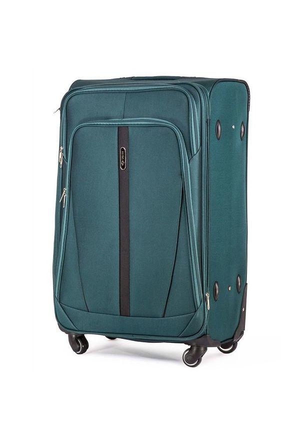 Zielona walizka Solier w kolorowe wzory