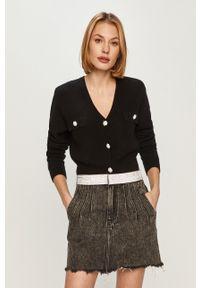 Czarny sweter rozpinany Miss Sixty klasyczny, z długim rękawem