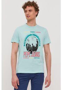 Pepe Jeans - T-shirt Matt. Okazja: na co dzień. Kolor: turkusowy. Wzór: nadruk. Styl: casual