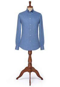 Lancerto - Koszula Niebieska Monroe. Typ kołnierza: button down. Kolor: niebieski. Materiał: bawełna, tkanina. Styl: vintage, elegancki