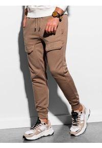 Ombre Clothing - Spodnie męskie dresowe joggery P904 - camel - XXL. Materiał: dresówka