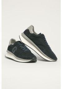 Niebieskie sneakersy Guess z okrągłym noskiem, na sznurówki