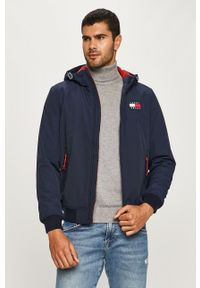 Niebieska kurtka Tommy Jeans z kapturem, na co dzień, casualowa