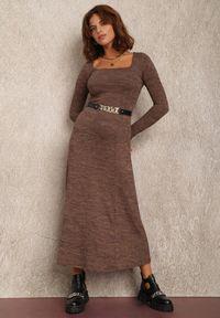Renee - Brązowa Sukienka Irile. Kolor: brązowy. Materiał: dzianina. Długość rękawa: długi rękaw. Długość: maxi