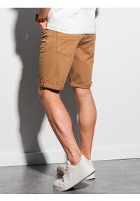 Ombre Clothing - Krótkie spodenki męskie casual W303 - camel - XXL. Okazja: na co dzień. Materiał: tkanina, elastan, bawełna. Długość: krótkie. Sezon: lato. Styl: casual