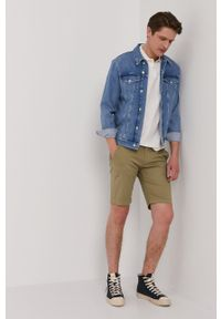Pepe Jeans - Polo Benson. Typ kołnierza: polo. Kolor: biały. Materiał: guma. Długość: krótkie. Wzór: nadruk