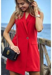 MOE - Czerwona Elegancka Żakietowa Sukienka bez Rękawów. Kolor: czerwony. Materiał: elastan, poliester. Długość rękawa: bez rękawów. Styl: elegancki