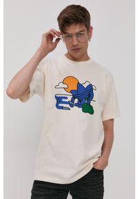 adidas Originals - T-shirt. Kolor: beżowy. Materiał: bawełna. Wzór: nadruk